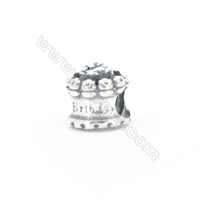 Charm Happy Birthday en argent925 x1pc Taille 9x10mm  Grand trou  4.5mm