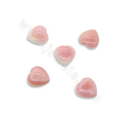 Cabochons en lambi rose  coeur  16x16mm  2pcs/paquet